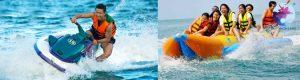 Khách du lịch trải nghiệm trò chơi nước tại khu du lịch Hòn Khô - Kỳ Co