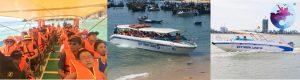 Khách du lịch ổn định chỗ ngồi trước khi tàu rời Cảng